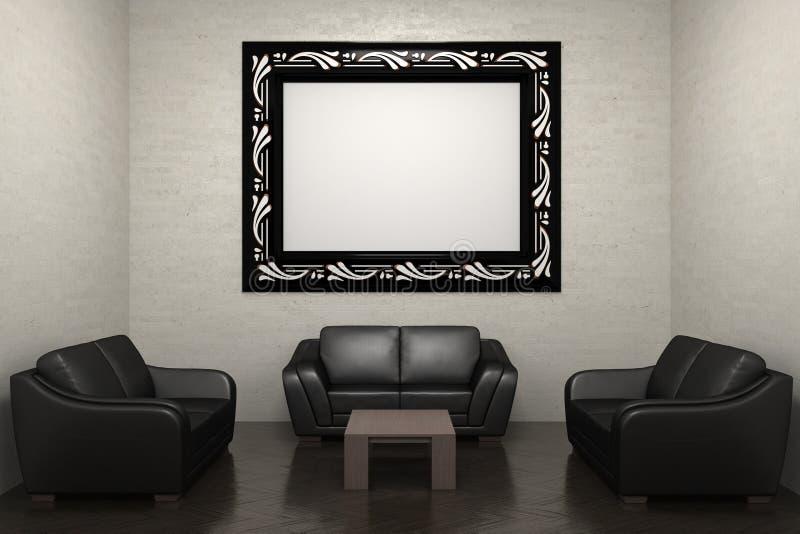 Frame do sofá e de retrato ilustração do vetor
