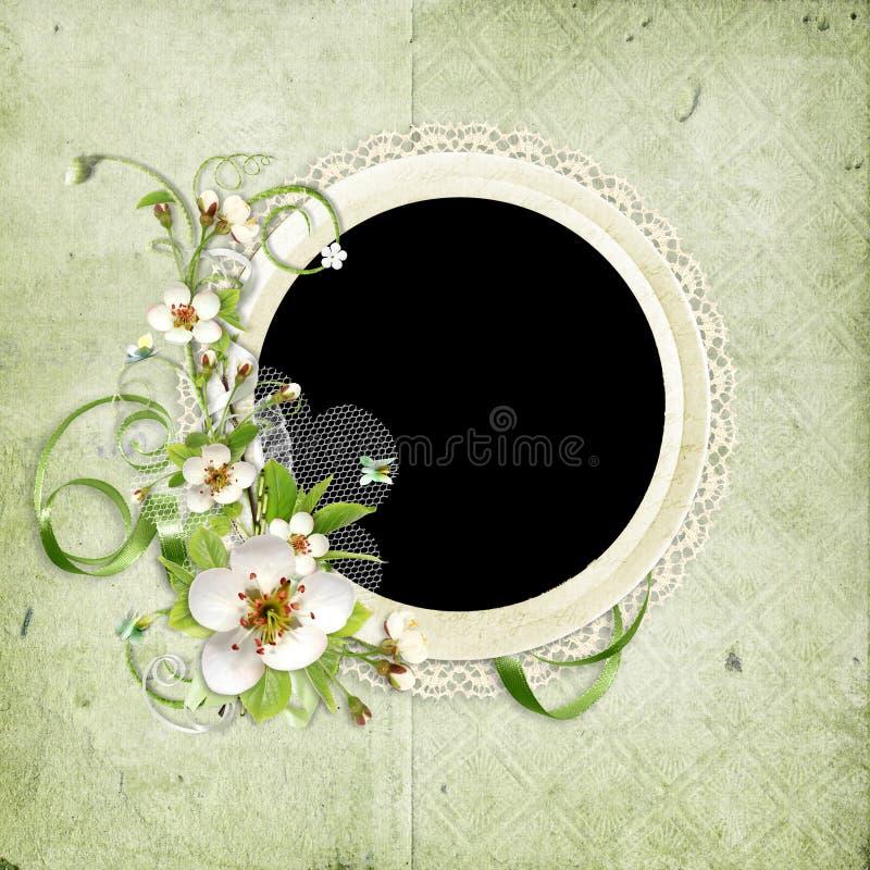 Frame do vintage com as flores da árvore de maçã ilustração stock