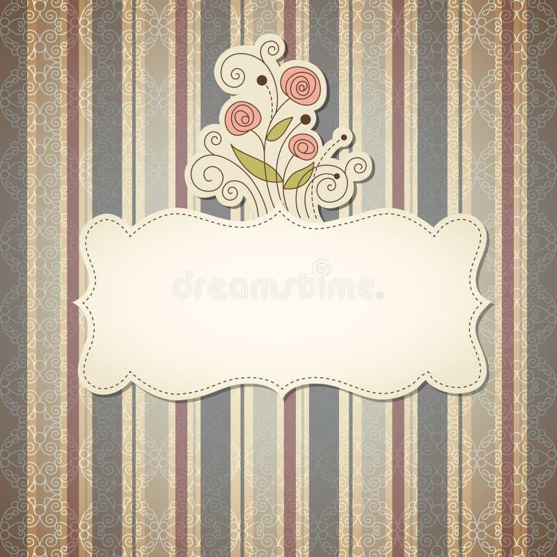 Frame do vintage com flores ilustração do vetor