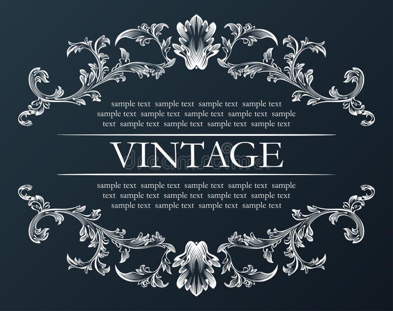 Frame do vintage do vetor Preto retro real da decoração do ornamento ilustração do vetor