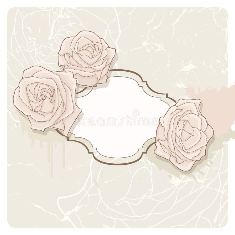 Frame do vintage e rosas, fundo ilustração royalty free