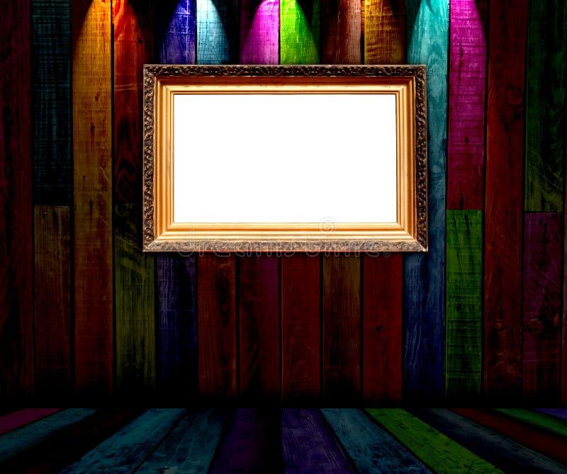 Frame do vintage no quarto de madeira escuro ilustração stock