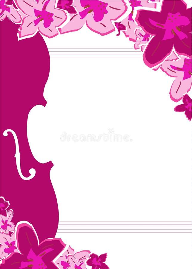 Frame do violino e da flor ilustração stock