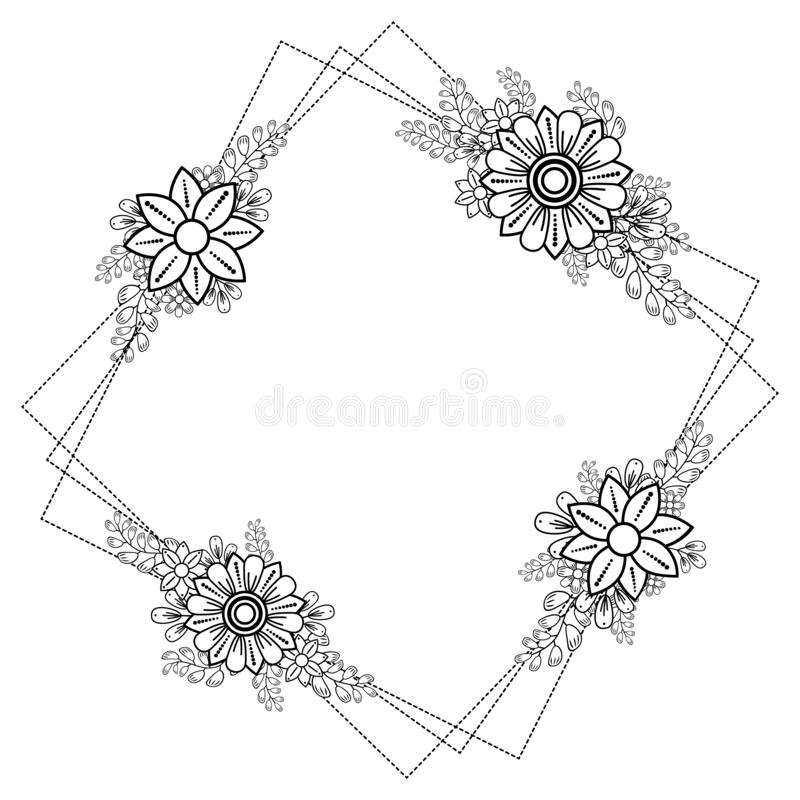 Frame with doodle black and white leaves,flowers,dots. Square frame with doodle black,white and gray leaves,flowers and dots.Decoration for greeting card,wedding royalty free illustration