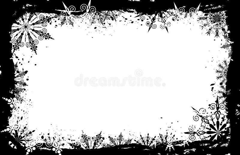 Frame dos flocos de neve de Grunge, vetor ilustração stock