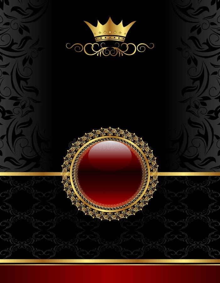 Frame dourado do vintage com medalhão floral ilustração do vetor