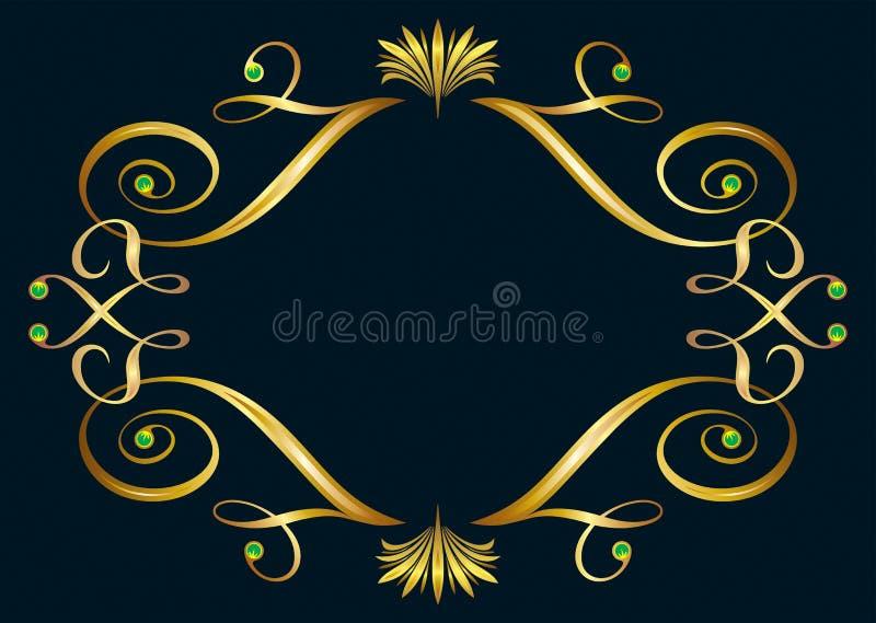 Frame dourado floral ilustração stock