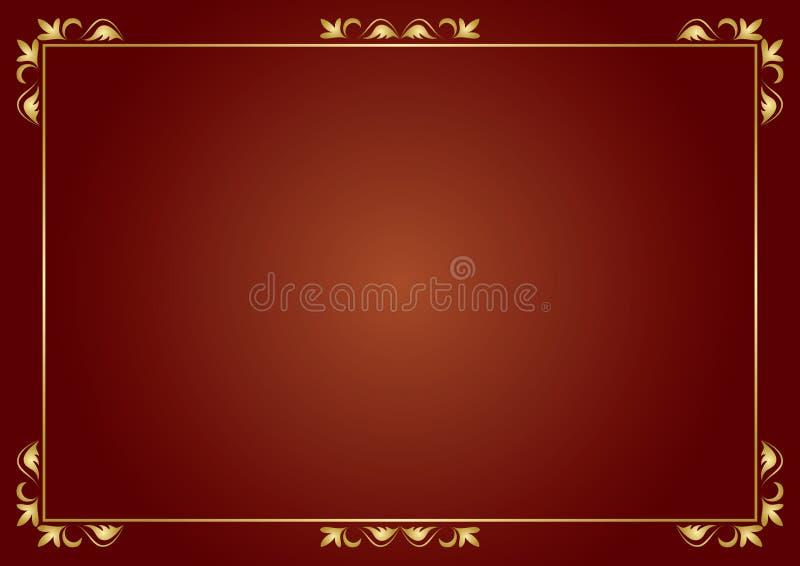 Frame dourado no fundo marrom ilustração stock