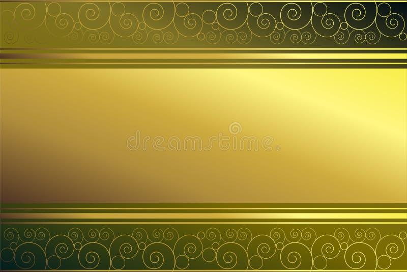 Frame dourado no fundo verde ilustração do vetor