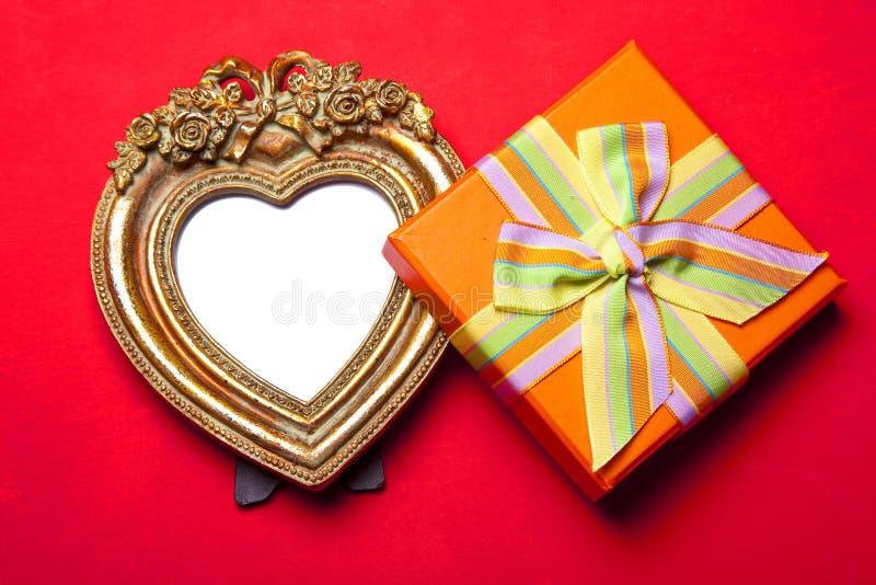 Frame e presente de retrato do coração imagens de stock