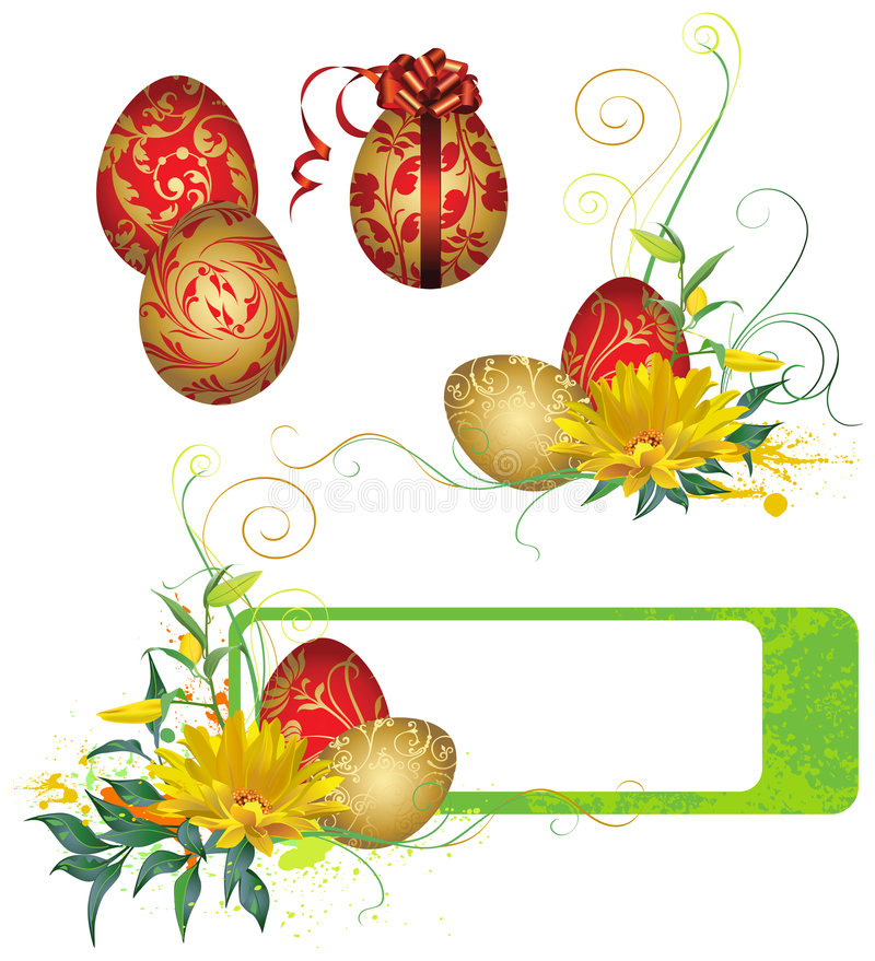 Frame With Easter Eggs And Flowers Royalty Free Stock Photography