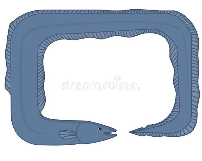 Frame - the eel. In the picture is a frame of the eel. It is colored, blue. Inside is a space for text vector illustration