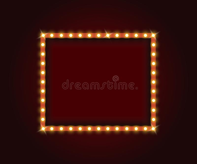 Retro Marquee Frames With Light Bulbs Stock Vector - Illustration of ...