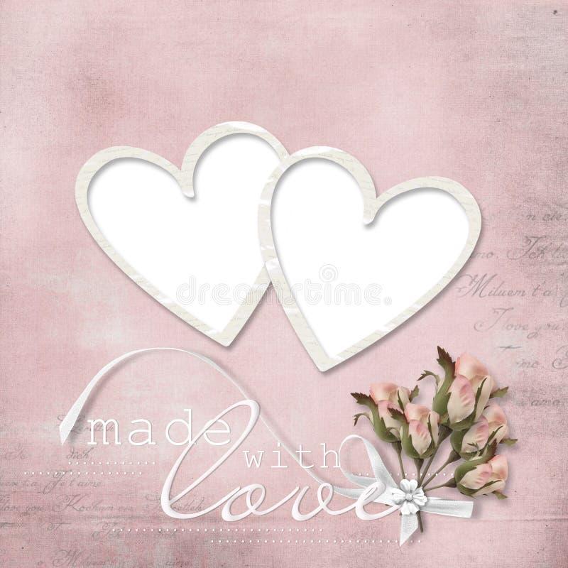 Frame elegante do vintage com cor-de-rosa e coração ilustração royalty free