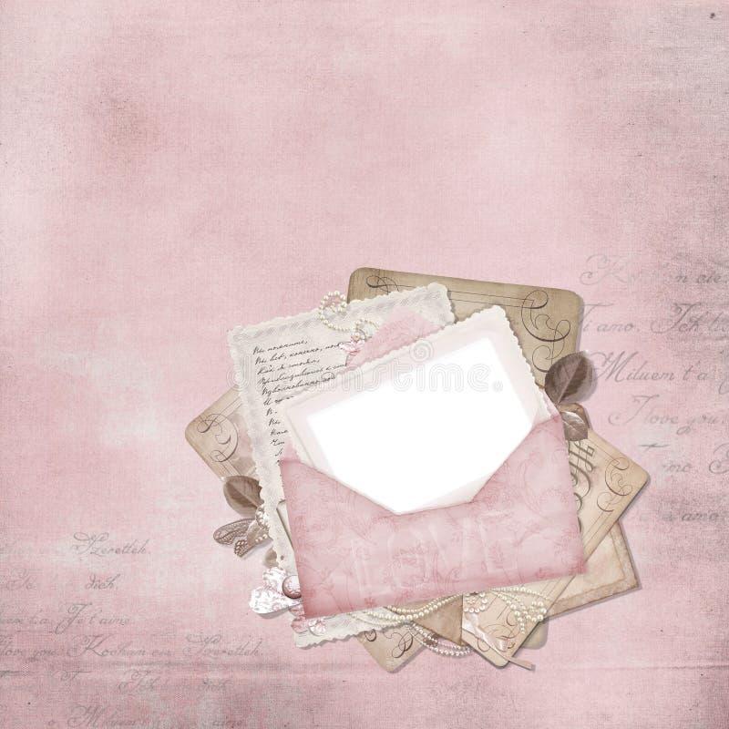 Frame elegante do vintage com envelope ilustração do vetor