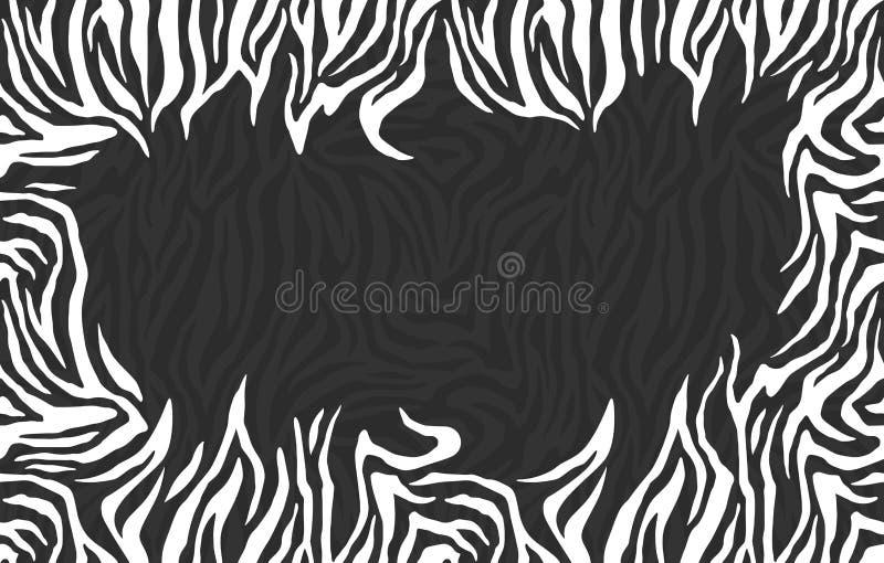 Frame em branco da foto Teste padrão da zebra Quadro à moda das listras Para o projeto da tampa ilustração royalty free