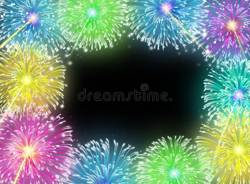 Frame em branco dos fogos-de-artifício ilustração do vetor