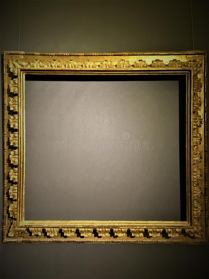 Frame and empty space. Art, gold and vacuity royalty free stock image