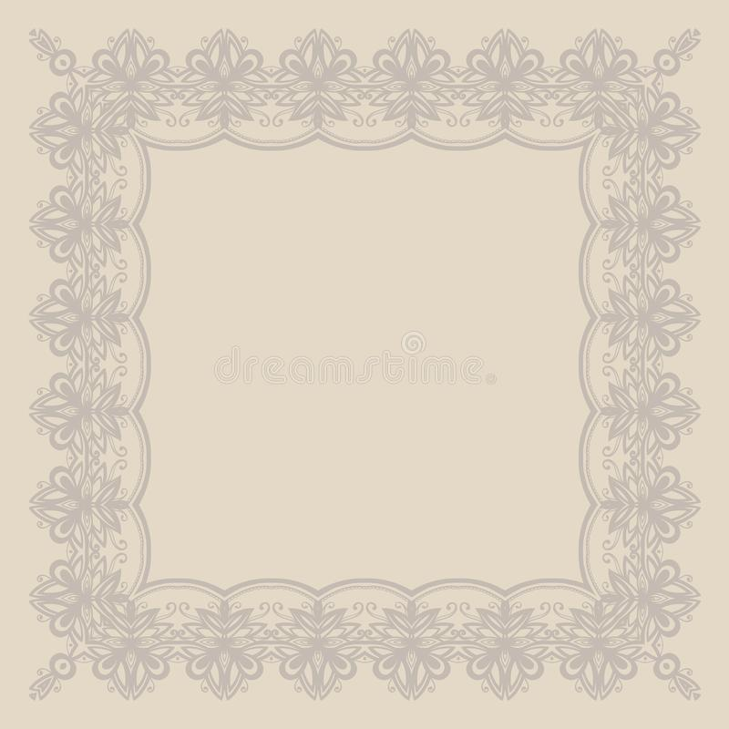 Frame In The English Style With Floral Ornaments. Beige Color ...