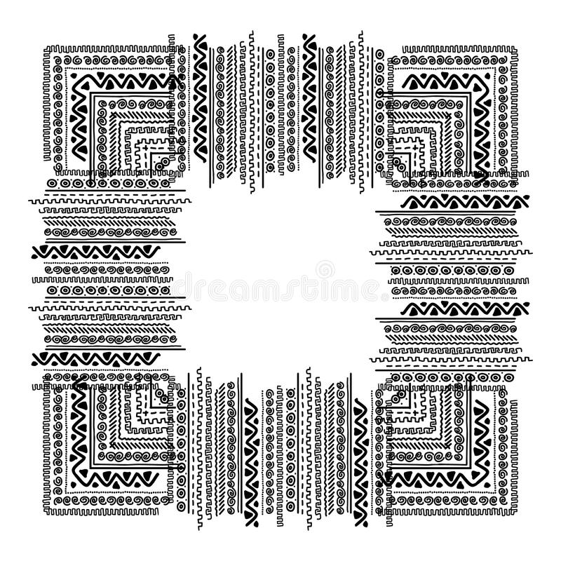 Frame with ethnic handmade ornament for your stock illustration