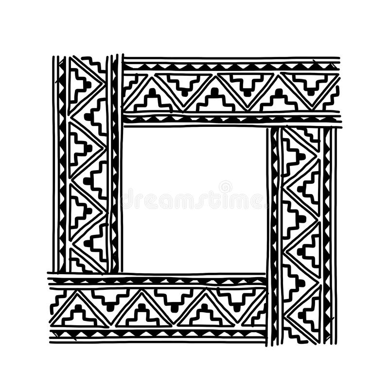 Frame with ethnic handmade ornament for your vector illustration