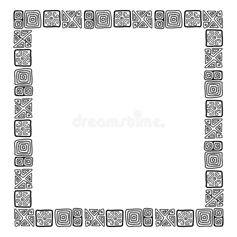 Frame with ethnic handmade ornament for your royalty free illustration