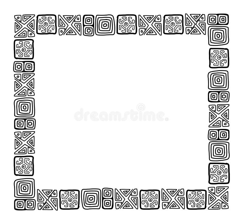 Frame with ethnic handmade ornament for your. Design. Vector illustration royalty free illustration