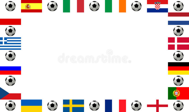 Frame European football championship 2012. Frame, composed of the flags from all 16 participating countries, sorted according to groups, and soccer balls or royalty free illustration