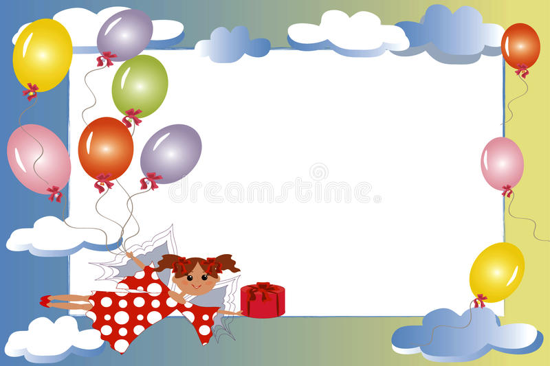 Download Frame:fairy With Gift And Balloons. Stock Vector - Image: 16543926