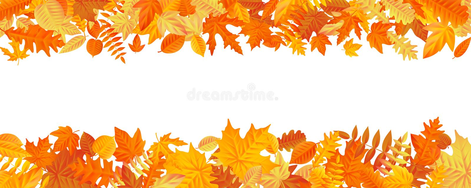 Frame with fall autumn colorful leaves on white background. Eps 10 royalty free illustration