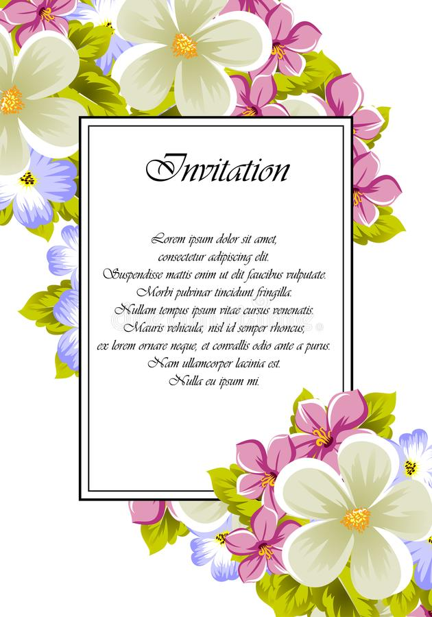 Frame of a few flowers. For design of cards, invitations, greeting for birthday, wedding, party, holiday, celebration, Valentine` stock photography