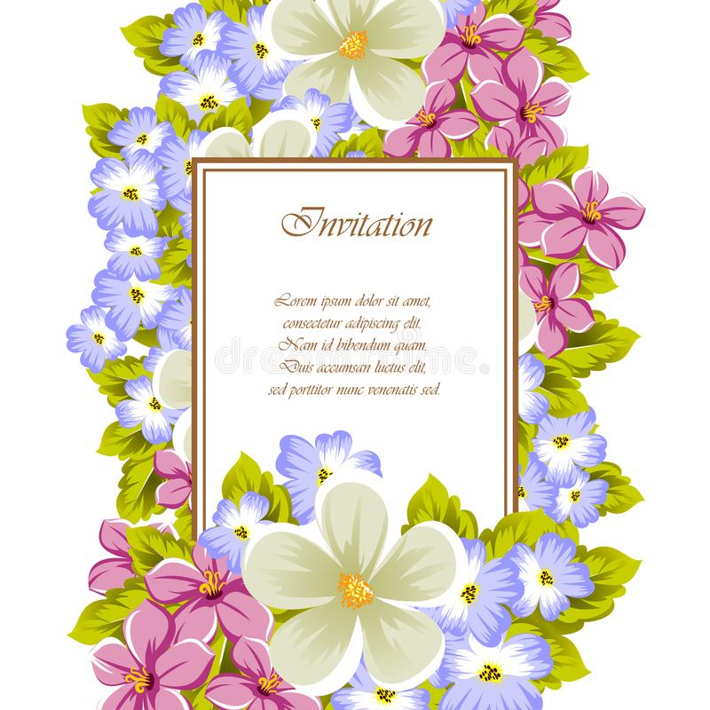 Frame of a few flowers. For design of cards, invitations, greeting for birthday, wedding, party, holiday, celebration, Valentine` royalty free stock photos