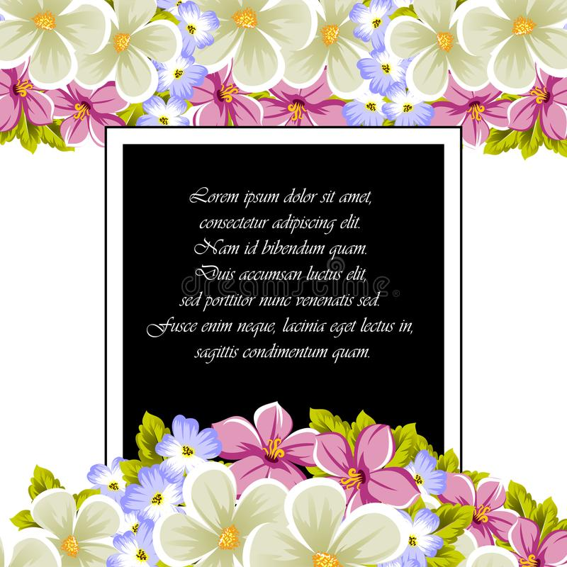 Frame of a few flowers. For design of cards, invitations, greeting for birthday, wedding, party, holiday, celebration, Valentine` stock image