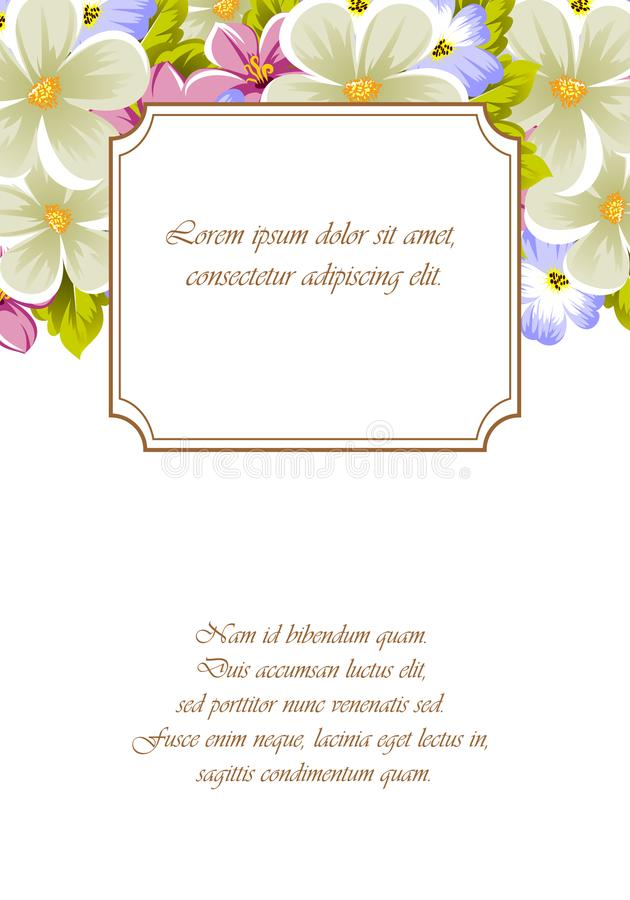 Frame of a few flowers. For design of cards, invitations, greeting for birthday, wedding, party, holiday, celebration, Valentine` stock photo
