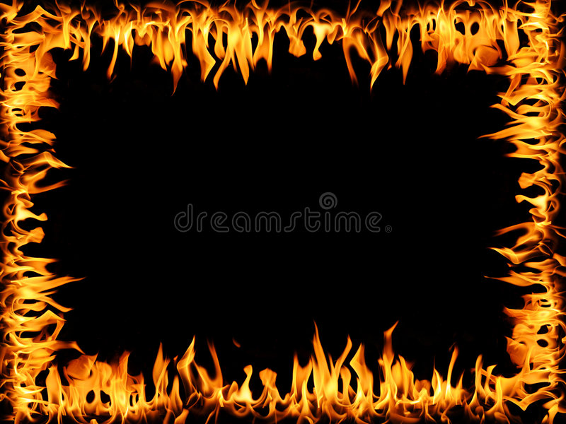 Frame of Fire. Frame made out of tongues of fire over a black background stock illustration