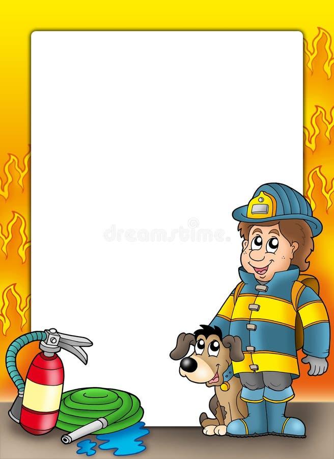 Frame with firefighter and dog. Color illustration
