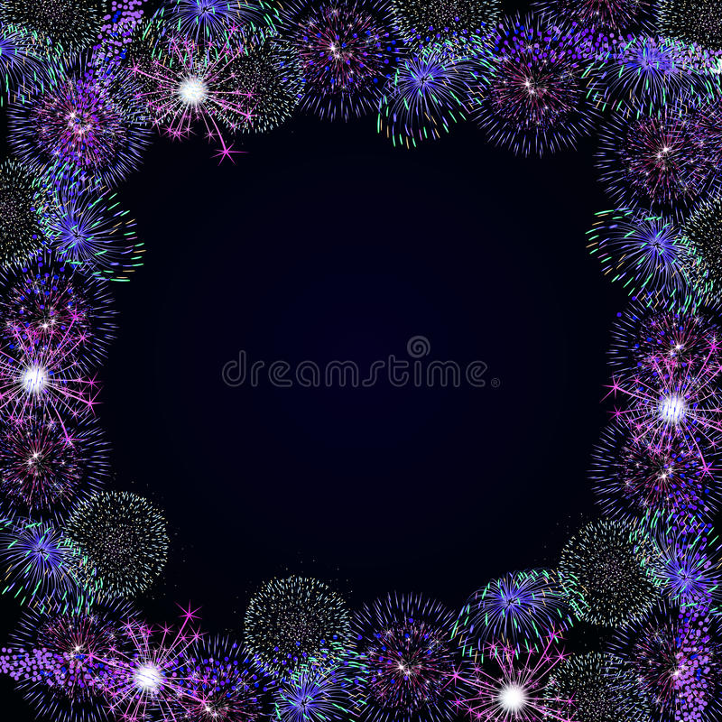 Frame with fireworks royalty free illustration