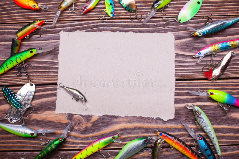 Frame of fishing lures stock image. Image of brown, building - 81170279