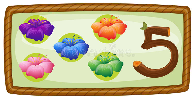 A frame with five flowers vector illustration