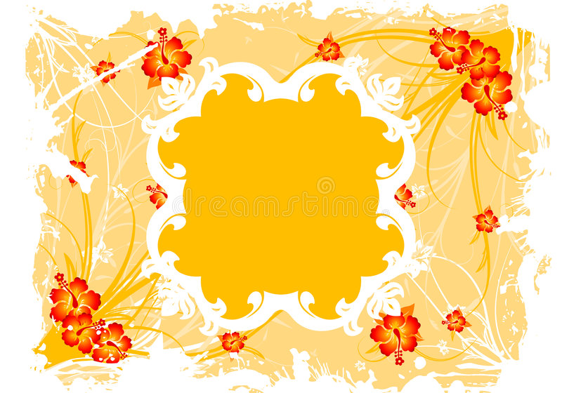 Frame floral abstrato de Grunge ilustração stock