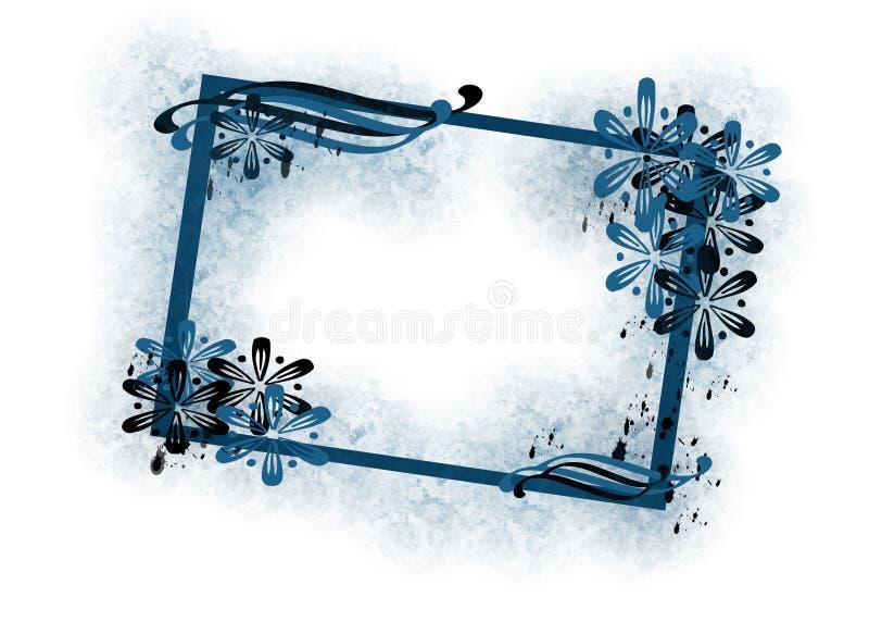 Frame floral azul ilustração stock