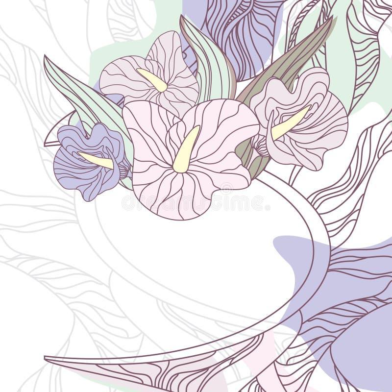 Frame floral bonito ilustração royalty free