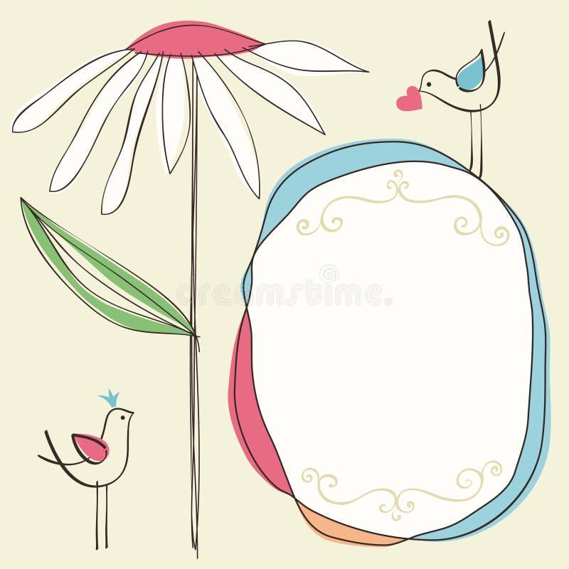 Frame floral bonito ilustração stock