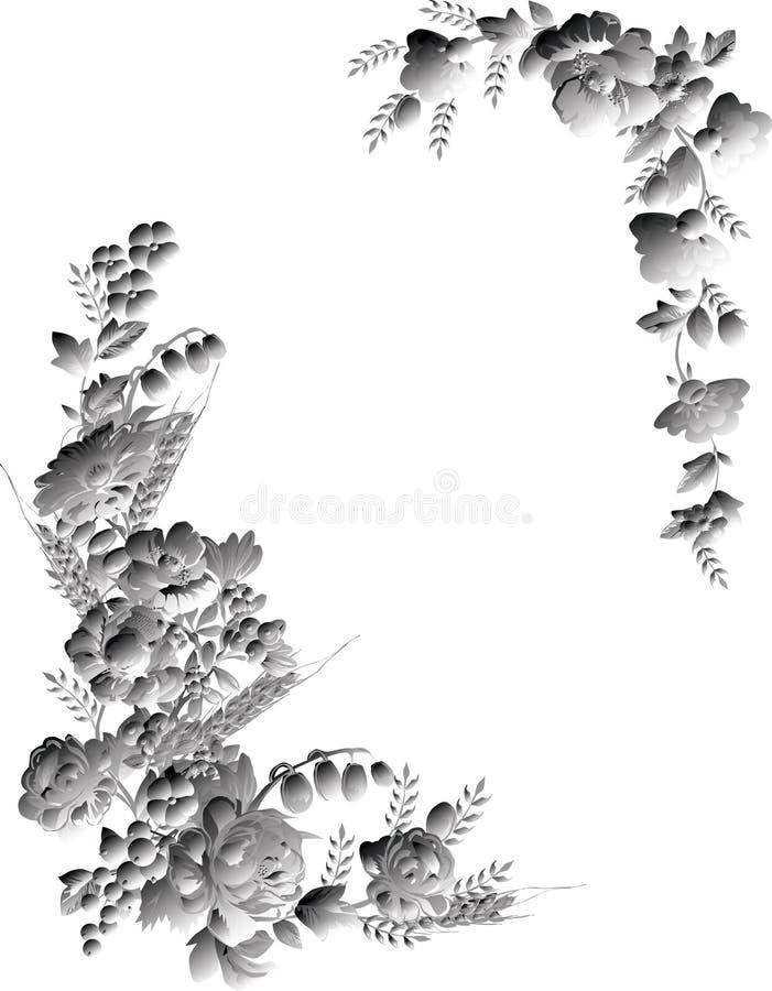 Frame floral cinzento no branco ilustração royalty free