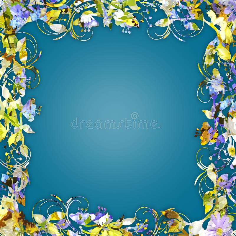 Frame floral colorido ilustração stock