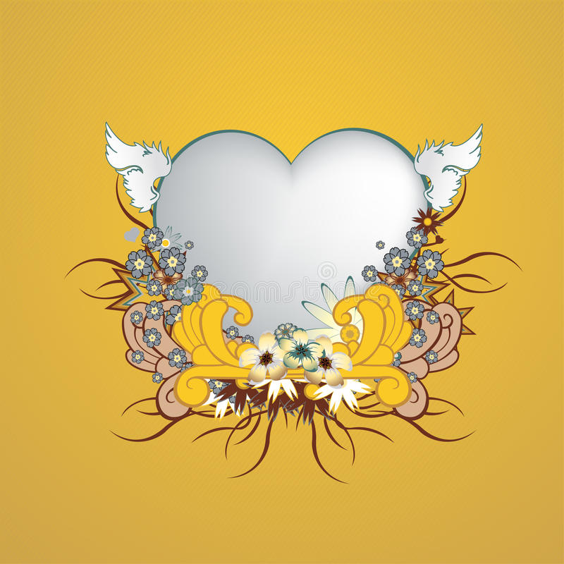 Frame floral com forma do coração ilustração do vetor