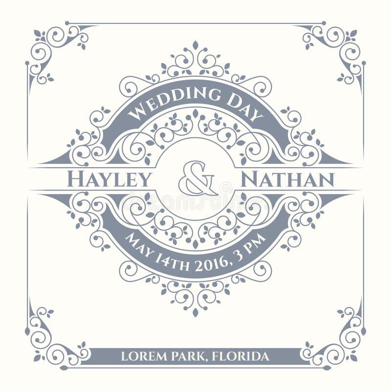 Frame floral Convite do casamento Cartões do clássico do molde ilustração royalty free