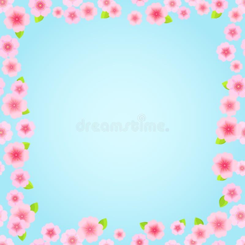 Frame floral cor-de-rosa Sakura ilustração stock