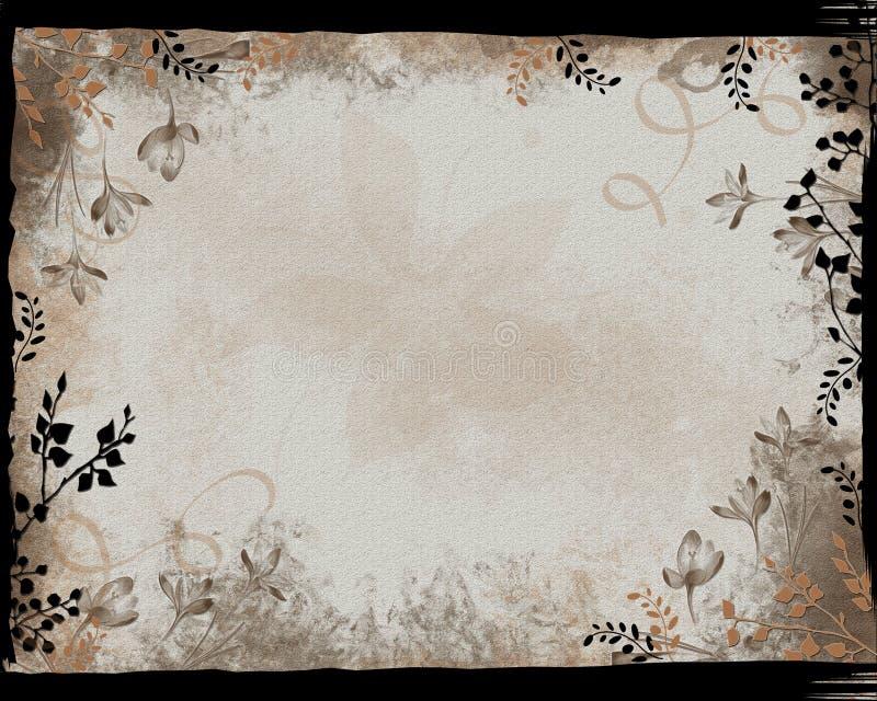 Frame floral da beira preta ilustração stock