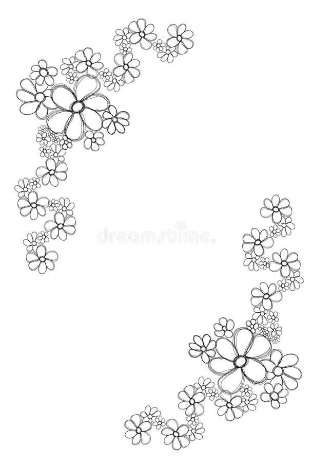 Frame floral da silhueta. Preto e branco. ilustração stock